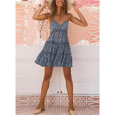 Print Sleeveless A-line Above Knee Sexy/Casual Slip Dresses