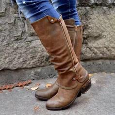 Vrouwen PU Low Heel Half-Kuit Laarzen Rijlaarzen Ronde neus met Gesp Rits schoenen