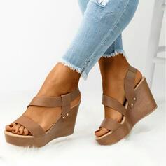 Kvinder PU Kile Hæl sandaler Kiler Kigge Tå Hæle med Solid Color sko