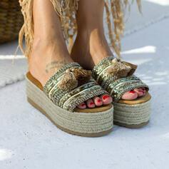 De mujer PU Tacón plano con Lentejuelas zapatos