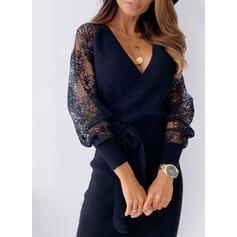 Krajka/Pevný Dlouhé rukávy Pouzdrové Délka ke kolenům Malé černé/Neformální Šaty