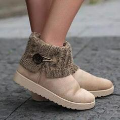 Kvinnor Mocka Flat Heel Boots rund tå Slip On Snökängor med Spänne Skarvfärg skor