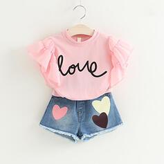 2-pieces Toddler Girl Letter Heart Ruffle Denim Print Cotton Set