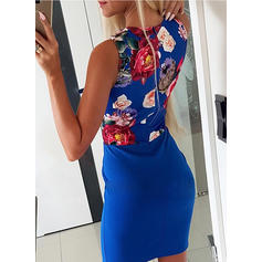 Print/Floral Sleeveless Bodycon Knee Length Casual Dresses