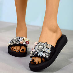 De mujer Tela Tacón plano Pantuflas con Perlas de imitación Flor zapatos