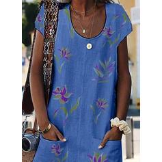 Impresión/Floral Manga Corta Tendencia Sobre la Rodilla Casual Camiseta Vestidos