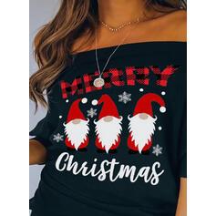 Stampa Abiti senza spalline Batwing Sleeve Maniche lunghe Natale Camicie