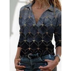 Геометрическая печать отворот Длинные рукова Повседневная Блузы