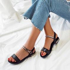 Dla kobiet Skóra ekologiczna Płaski Obcas Sandały Otwarty Nosek Buta Z Klamra obuwie