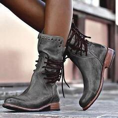 Donna Similpelle Tacco basso Stivali con Rivet Allacciato scarpe