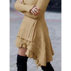 Solid Kabelsticka Polotröja Casual Lång Tröja klänning