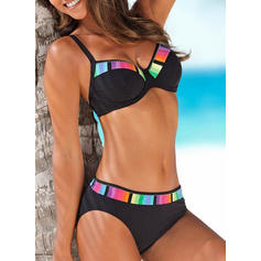 Low Waist Splice color Strap Sexy Fashionable Plus Size Bikinis Swimsuits