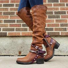 De mujer PU Tacón ancho Botas Botas a la rodilla con Hebilla zapatos