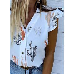 Nadruk Dekolt w kształcie litery V Krótkie rękawy Zapięcie na guzik Bluski koszulowe