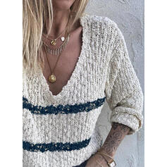 Prążek Dekolt w kształcie litery V Casual Swetry
