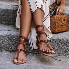 Kvinner PU Flat Hæl Sandaler Flate sko Titte Tå med Spenne sko