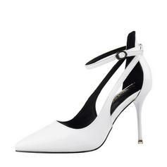 Pentru Femei Piele Breveta Toc Stiletto Închis la vârf Încălţăminte cu Toc Înalt Sandale Mary Jane cu Cataramă