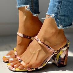 De mujer PU Tacón ancho Sandalias Encaje Pantuflas con Estampado de animales zapatos