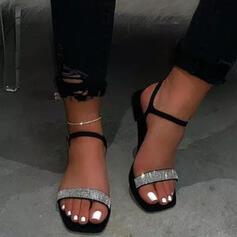 De mujer Cuero Tacón plano Sandalias Encaje con Rhinestone Crystal Hebilla zapatos