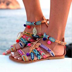 De mujer PU Tacón plano Sandalias Encaje con Cadena zapatos