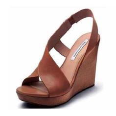 PU Tipo de tacón Sandalias Cuñas con Hebilla zapatos