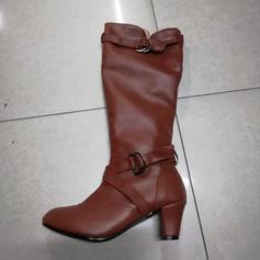 De mujer Cuero PU Tacón stilettos Salón Cerrados Botas Botas longitud media con Hebilla Volantes zapatos