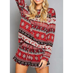 Bavlna Dlouhé rukávy Vánoce Pajama Set