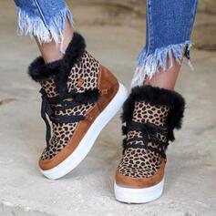 Kvinnor PU Kilklack Flat Heel Boots rund tå Vinterkängor med Bandage Blommig skor