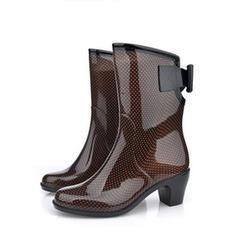 Femmes PVC Talon bottier Bottes Bottes mi-mollets Bottes de pluie avec Bowknot chaussures