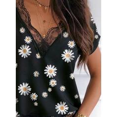 Minta Virágos Csipke V-nyak Rövidujjú Hétköznapokra πουκαμίσες