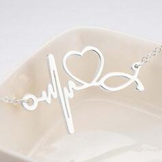 Jednoduchý Srdeční Valentýn EKG Slitina Dámské Náramky