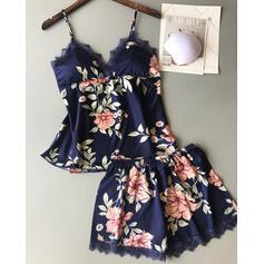 Corte bajo Sin mangas Floral Impresión Elegante Conjuntos de pijamas Cami y conjuntos cortos