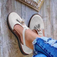 De mujer Ante Tacón plano Planos Cerrados Encaje con Hebilla zapatos