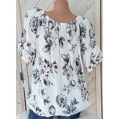 Print Floral V-Neck 1/2 Sleeves Casual Blouses