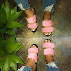 Υφασμα Επίπεδη φτέρνα Σανδάλια Ανοιχτά σανδάλια toe Παντούφλες Με Γούνα παπούτσια