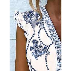 Print V-Neck Cap Sleeve Casual Blouses