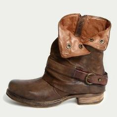 Vrouwen PU Low Heel Flats Closed Toe Laarzen Half-Kuit Laarzen met Gesp schoenen