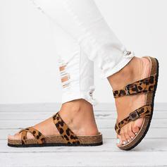 Mulheres PU Sem salto Sandálias Sem salto Chinelos Chinelos com Fivela sapatos