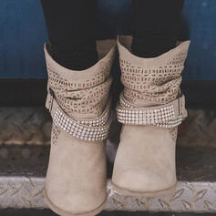 ポンプ ミッドカーフブーツ とがったつま先 とともに ラインストーン リベット バックル 靴