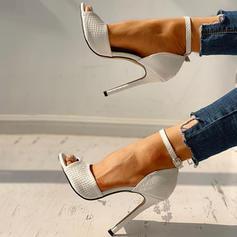 Mulheres PU Salto agulha Sandálias Bombas Peep toe com Fivela sapatos