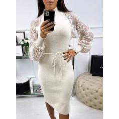Lace/Solid Long Sleeves Bodycon Casual Midi Dresses