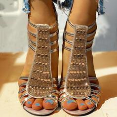 De mujer PU Tacón ancho Sandalias Salón Encaje Tacones con Rhinestone Lentejuelas Cremallera zapatos