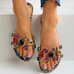 De mujer PVC Tacón plano Planos con Rhinestone zapatos