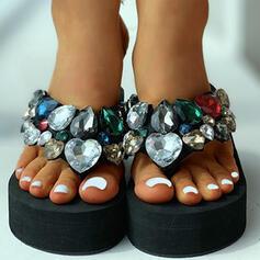 De mujer Tejido Tacón plano Sandalias Encaje Pantuflas con Rhinestone zapatos