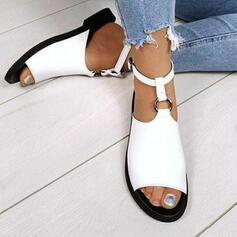 Kvinnor Mocka Flat Heel Sandaler Peep Toe med Spänne Ihåliga ut skor