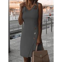 Egyszínű Ujjatlan Testre simuló ruhák Térdig érő Elegáns φορέματα