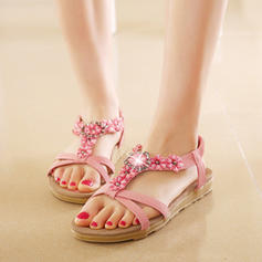 Pentru Femei Imitaţie de Piele Fară Toc Sandale Puţin decupat în faţă Borsete cu Ştrasuri Floare Bandă Elastică pantofi