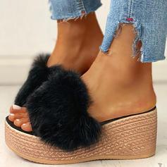 Bayanlar Kumaş Düz topuk Sandalet Terlik Ile Kürk ayakkabı