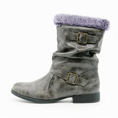 Donna PU Tacco spesso Stivali da neve Martin boots Punta rotonda con Fibbia Pelliccia Ecologica scarpe