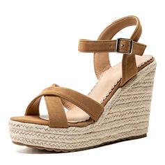 Kvinnor Mocka Kilklack Sandaler Kilar med Spänne skor